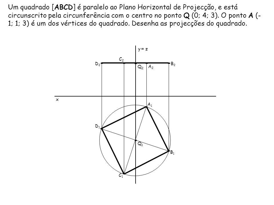 Um quadrado [ABCD] é paralelo ao Plano Horizontal de Projecção, e está circunscrito pela circunferência com o centro no ponto Q (0; 4; 3). O ponto A (-1; 1; 3) é um dos vértices do quadrado. Desenha as projecções do quadrado.